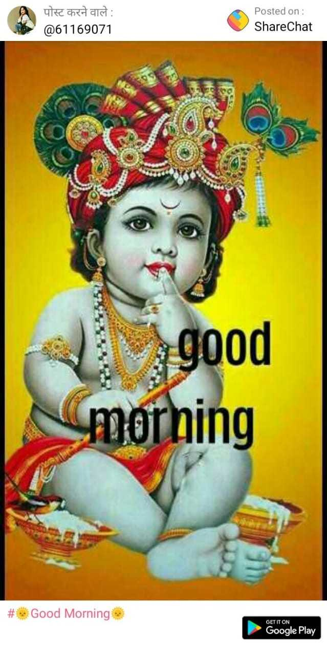jai shree krishna - पोस्ट करने वाले : @ 61169071 Posted on : ShareChat good morning # Good Morning e GET IT ON Google Play - ShareChat