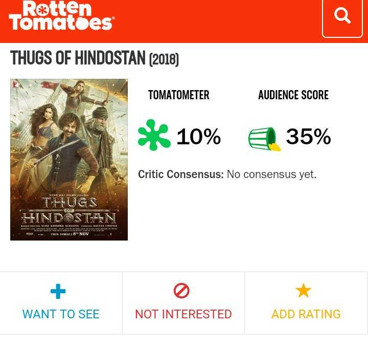 ThugsOfHindostan - Retten Tomatoes THUGS OF HINDOSTAN ( 2018 ) TOMATOMETER AUDIENCE SCORE * 10 % 35 % Critic Consensus : No consensus yet . T - FLUGS HINDOSTAN LENOV WANT TO SEE NOT INTERESTED ADD RATING - ShareChat