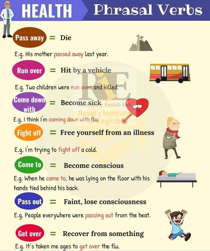 janva jevu - ( 1 ) HEALTH Phrasal Verbs Pass away = Die E . g . His mother passed away last year . Run over = Hit by a vehicle E . q . Two children were run over and killed . Come down = Become sick English Still OD with Raval ' s Institut E . g . I think I ' m coming down with flu . nglish Fight off = Free yourself from an illness E . g . I ' m trying to fight off a cold . Come to = Become conscious E . g . When he came to , he was lying on the floor with his hands tied behind his back . Pass out = Faint , lose consciousness E . g . People everywhere were passing out from the heat . Get over = Recover from something E . g . It ' s taken me ages to get over the flu . - ShareChat