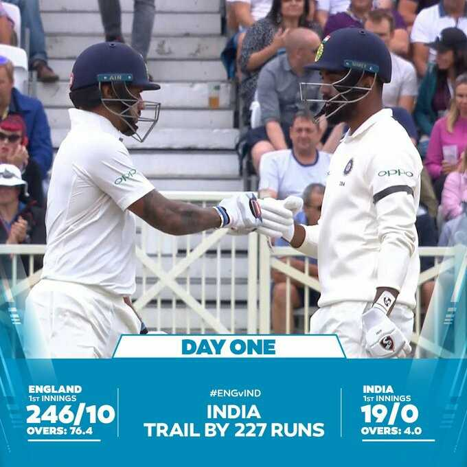 England vs India Series 2018 - OPPO DAY ONE ENGLAND 1ST INNINGS ENGLAND INDIA 1ST INNINGS # ENGVIND INDIA TRAIL BY 227 RUNS INDIA 246 / 10 19 / 0 19 / 0 OVERS : 76 . 4 OVERS : 4 . 0 - ShareChat