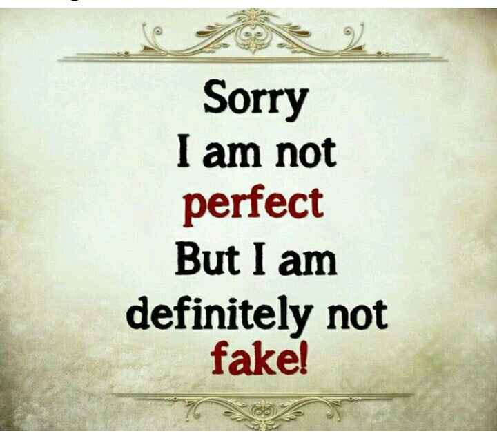 wp status.. - re Sorry I am not perfect But I am definitely not fake ! - ShareChat