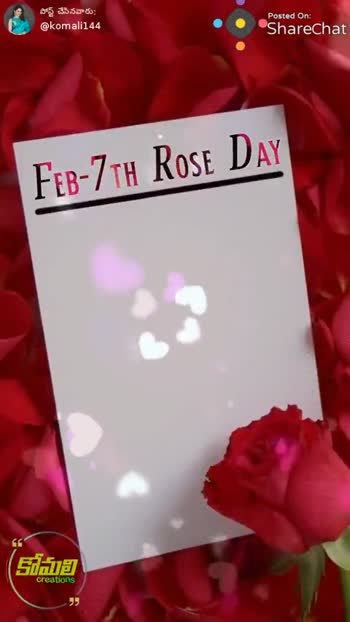 happy rose day🌹 - పోస్ట్ చేసినవారు @ komali144 Posted On : ShareChat FEB - 7th Rose DAY The Rose Speaks of Love Silently , in a lanquaqe known only to the Heart leppen Rose కమలి creations పోస్ట్ చేసినవారు ? @ komali144 Posted On : ShareChat FEB - 7th Rose DAY The Rose Speaks of Love Silently , in a lanquaqe known only to the Heart Floppy Ko oje కోమలి creations - ShareChat
