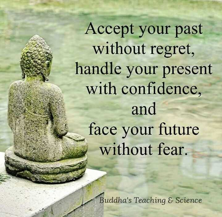 buddha words - Accept your past without regret , handle your present with confidence , and face your future without fear . Buddha ' s Teaching & Science - ShareChat
