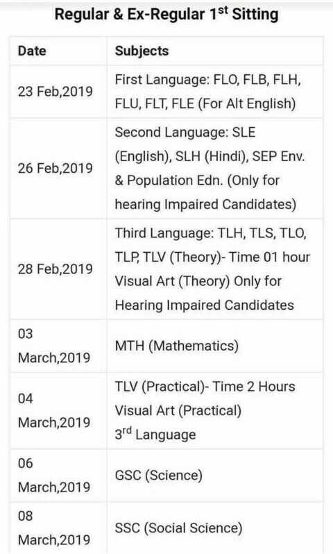 ମ୍ୟାଟ୍ରିକ ପରୀକ୍ଷା ଫଳାଫଳ - Regular & Ex - Regular 1st Sitting Date Subjects 23 Feb , 2019 First Language : FLO , FLB , FLH , FLU , FLT , FLE ( For Alt English ) 26 Feb , 2019 Second Language : SLE ( English ) , SLH ( Hindi ) , SEP Env . & Population Edn . ( Only for hearing Impaired Candidates ) 28 Feb , 2019 Third Language : TLH , TLS , TLO , TLP , TLV ( Theory ) - Time 01 hour Visual Art ( Theory ) Only for Hearing Impaired Candidates 03 March , 2019 MTH ( Mathematics ) 04 March 2019 TLV ( Practical ) - Time 2 Hours Visual Art ( Practical ) 3rd Language 06 GSC ( Science ) March 2019 08 SSC ( Social Science ) March , 2019 - ShareChat
