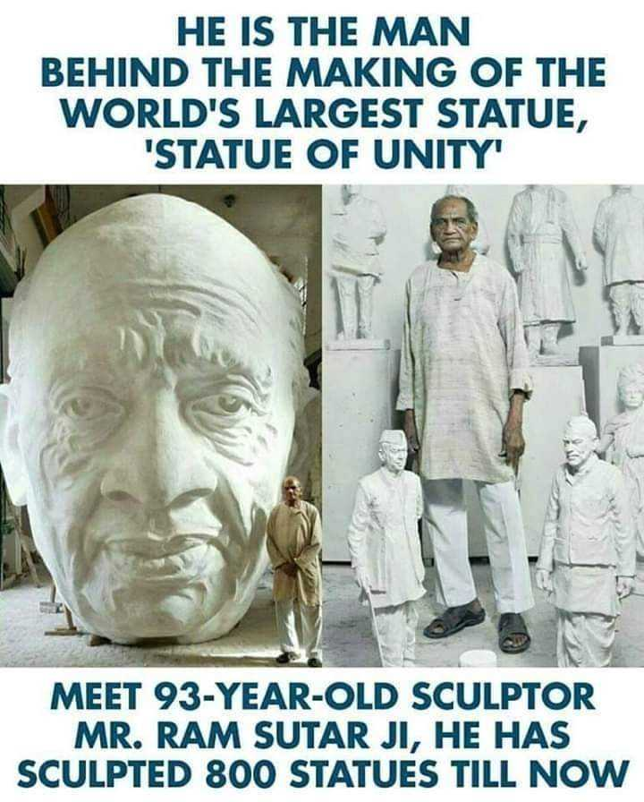 జాతీయ సమైక్యత దినోత్సవం👬👫 - HE IS THE MAN BEHIND THE MAKING OF THE WORLD ' S LARGEST STATUE , STATUE OF UNITY MEET 93 - YEAR - OLD SCULPTOR MR . RAM SUTAR JI , HE HAS SCULPTED 800 STATUES TILL NOW - ShareChat