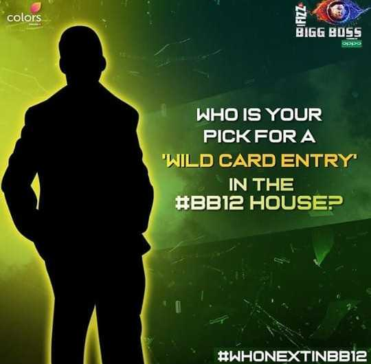 बिग बॉस 12 - colors colors FIZZ BIGG BOSS WHO IS YOUR PICK FOR A WILD CARD ENTRY IN THE # BB12 HOUSE ? # WHONEXTINBB12 - ShareChat