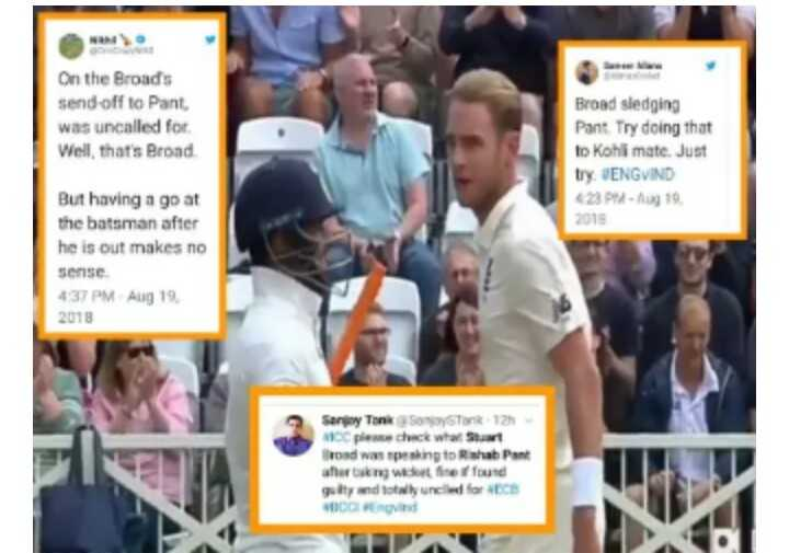 20 अगस्त की न्यूज़ - On the Broads send-off to Pant was uncalled for Well, that's Broad sledging Try doing that Kohii mate. Just try JENGVIND 23 PM-Aug 19 2018 But having a go at he batsman after is out makes no sense 437 PM Aug CC plesse check wha Stuart road spesking Rishab taking wiket ne found ulty and totawly und - ShareChat