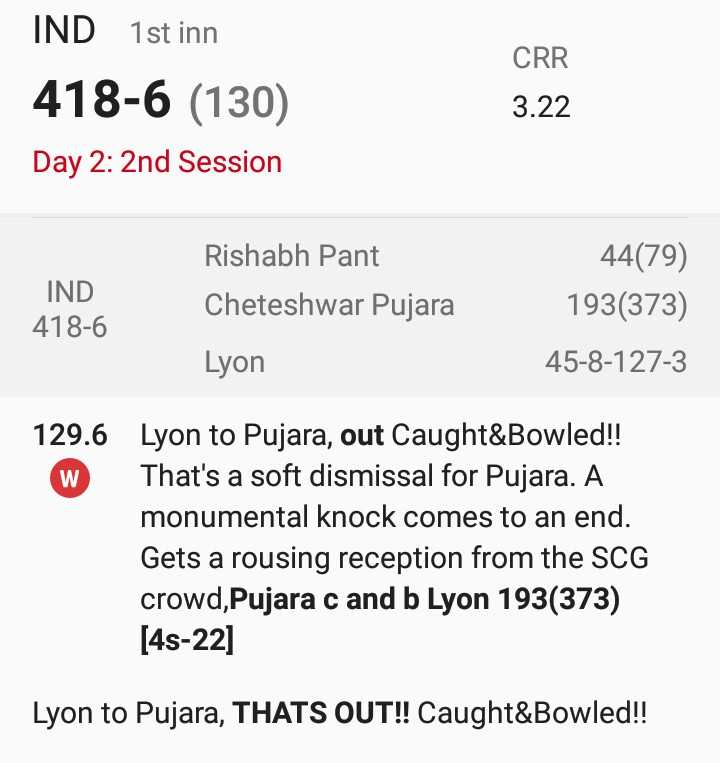 🏏AUS vs IND 4th Test Day 2 - CRR IND 1st inn 418 - 6 ( 130 ) Day 2 : 2nd Session 3 . 22 IND 418 - 6 Rishabh Pant Cheteshwar Pujara Lyon 44 ( 79 ) 193 ( 373 ) 45 - 8 - 127 - 3 129 . 6 Lyon to Pujara , out Caught & Bowled ! ! W That ' s a soft dismissal for Pujara . A monumental knock comes to an end . Gets a rousing reception from the SCG crowd , Pujara c and b Lyon 193 ( 373 ) [ 48 - 22 ] Lyon to Pujara , THATS OUT ! ! Caught & Bowled ! ! - ShareChat