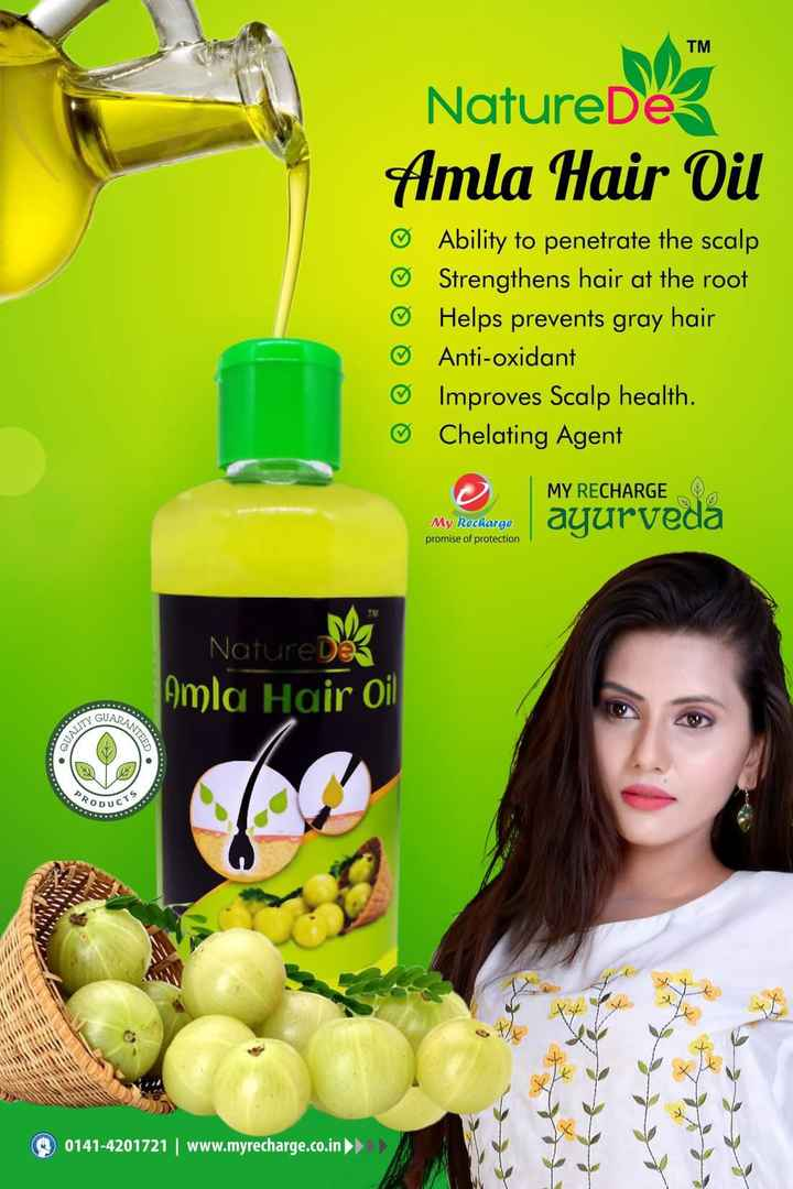 ଆୟୁର୍ବେଦ ଉପଚାର - TM NatureDes Amla Hair Oil Ability to penetrate the scalp Strengthens hair at root Helps prevents gray Anti - oxidant Improves Scalp health . Chelating Agent CMY RECHARGE My Rachacgo ayurveda promise of protection Nature Imla Oi ODUC 0141-4201721 | www.myrecharge.co.in - ShareChat