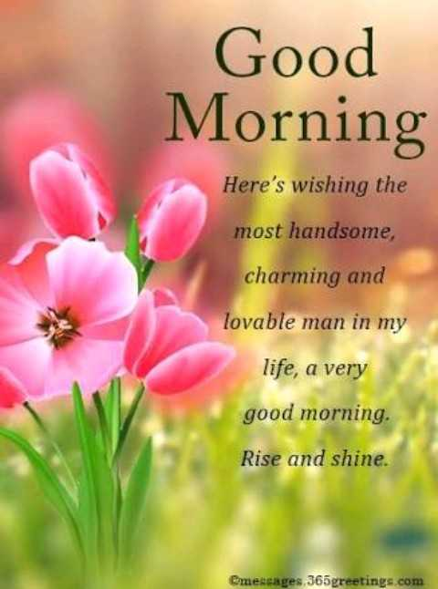 have a nice day...✍🌷🌷 - Good Morning Here ' s wishing the most handsome , charming and lovable man in my life , a very good morning . Rise and shine . Cmessages , 365 greetings . com - ShareChat