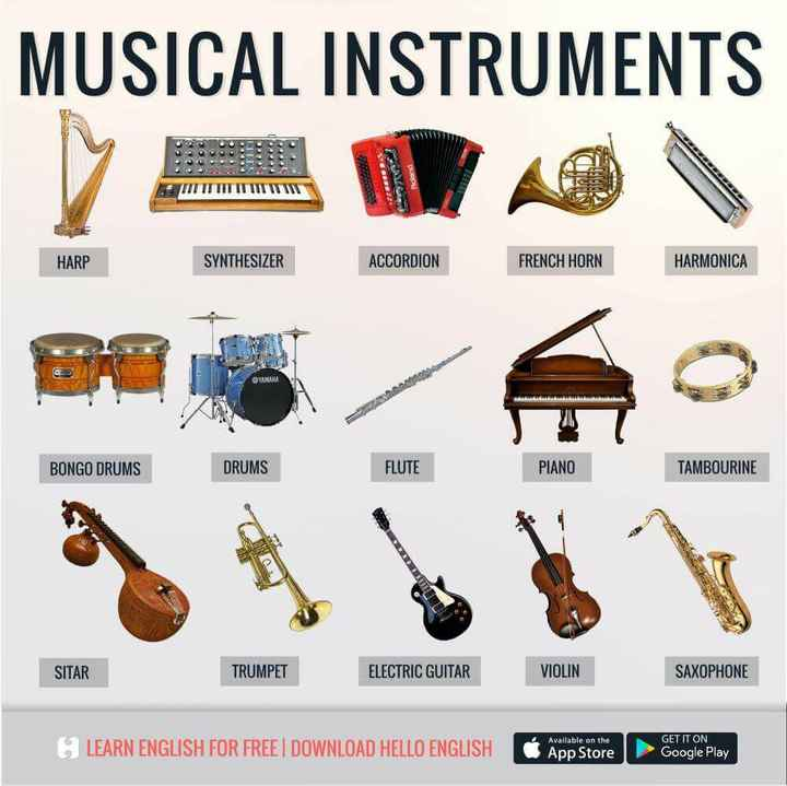 Spoken English - MUSICAL INSTRUMENTS SA Roland GE HARP SYNTHESIZER ACCORDION FRENCH HORN HARMONICA YAMAHA BONGO DRUMS DRUMS FLUTE PIANO TAMBOURINE SITAR TRUMPET ELECTRIC GUITAR VIOLIN SAXOPHONE Available on the LEARN ENGLISH FOR FREE DOWNLOAD HELLO ENGLISH NGLISH App Store App Store GET IT ON Google Play - ShareChat