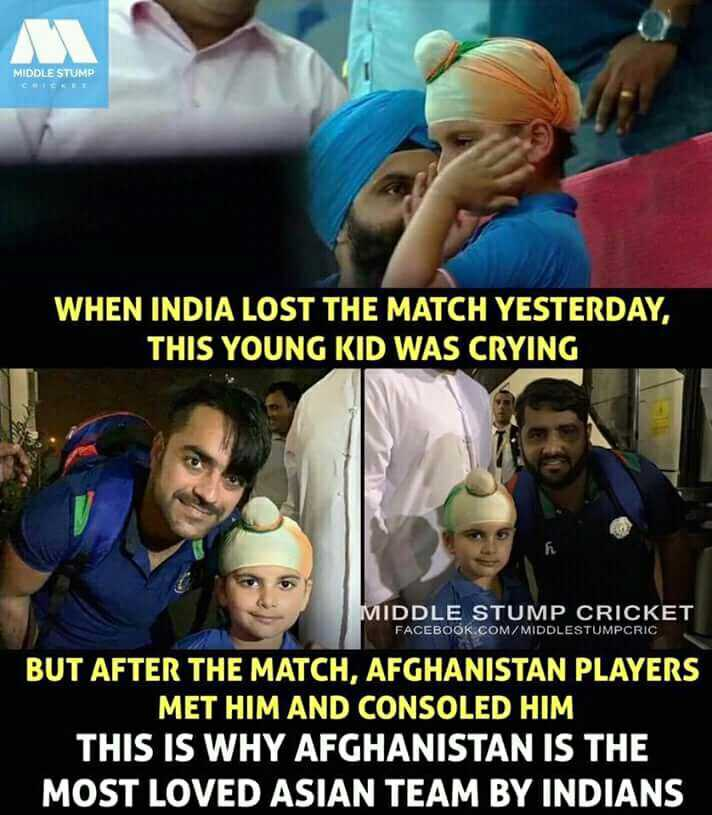 India vs Afghanistan - MIDDLE STUMP WHEN INDIA LOST THE MATCH YESTERDAY , THIS YOUNG KID WAS CRYING MIDDLE STUMP CRICKET FACEBOOK . COM / MIDDLESTUMPCRIC BUT AFTER THE MATCH , AFGHANISTAN PLAYERS MET HIM AND CONSOLED HIM THIS IS WHY AFGHANISTAN IS THE MOST LOVED ASIAN TEAM BY INDIANS - ShareChat