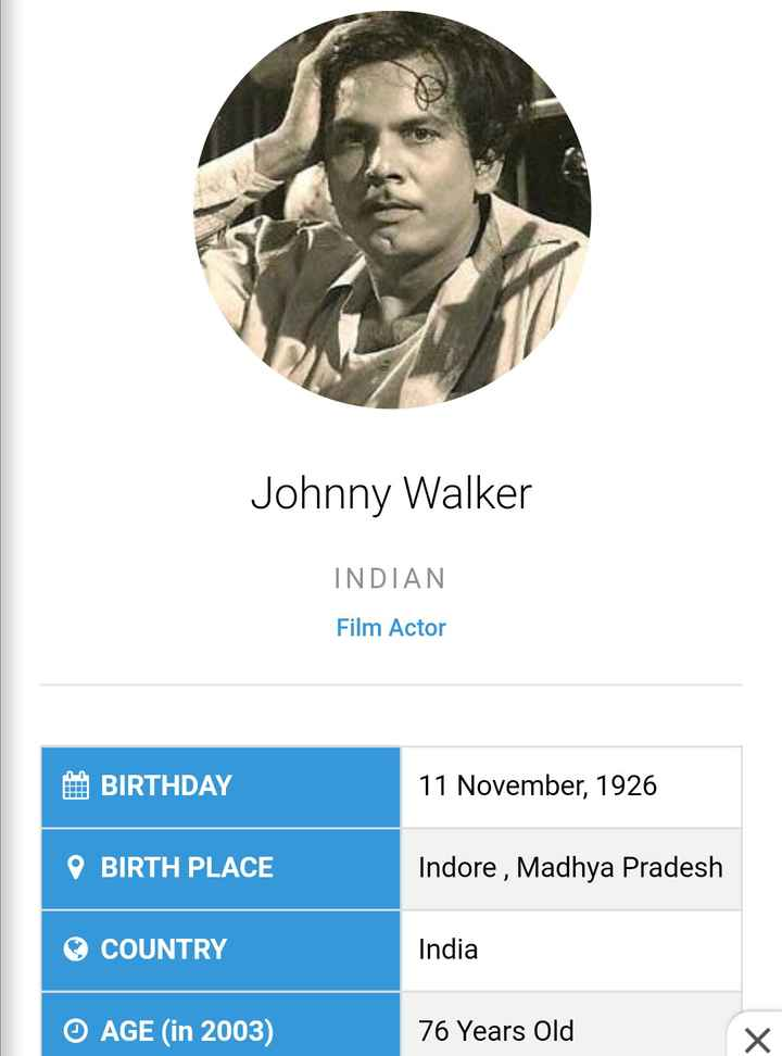 today's birthday 🎂🎈 - Johnny Walker INDIAN Film Actor A BIRTHDAY 11 November , 1926 O BIRTH PLACE Indore , Madhya Pradesh COUNTRY India © AGE ( in 2003 ) 76 Years Old x - ShareChat