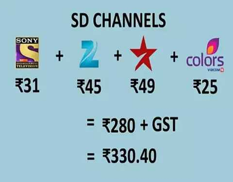 ✔️ હકીકતો અને માહિતી - SONY SD CHANNELS + 2 + + colors 545 549 525 S 531 TELEVISION VISCOMO = 5280 + GST = 330 . 40 - ShareChat