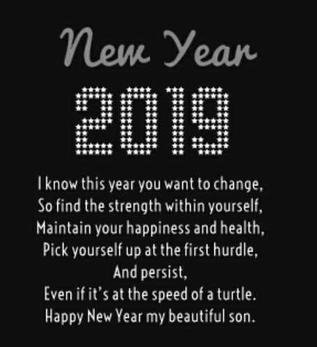 2019 happy new year - New Year 2019 I know this year you want to change , So find the strength within yourself , Maintain your happiness and health , Pick yourself up at the first hurdle , And persist , ' Even if it ' s at the speed of a turtle . Happy New Year my beautiful son . - ShareChat