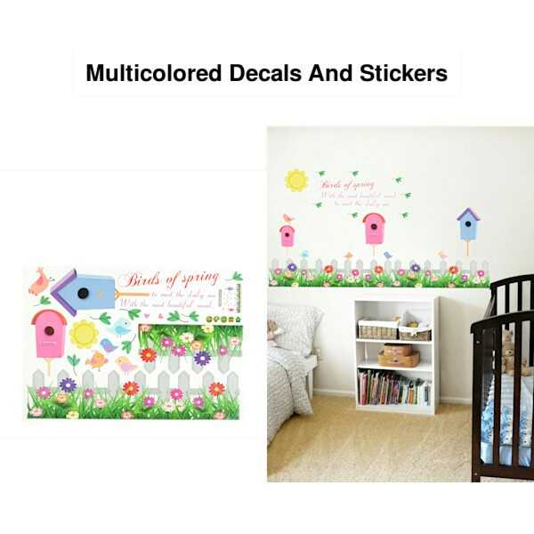 नाइस होम, डेकोरेशन - Multicolored Decals And Stickers irds of spring - ShareChat