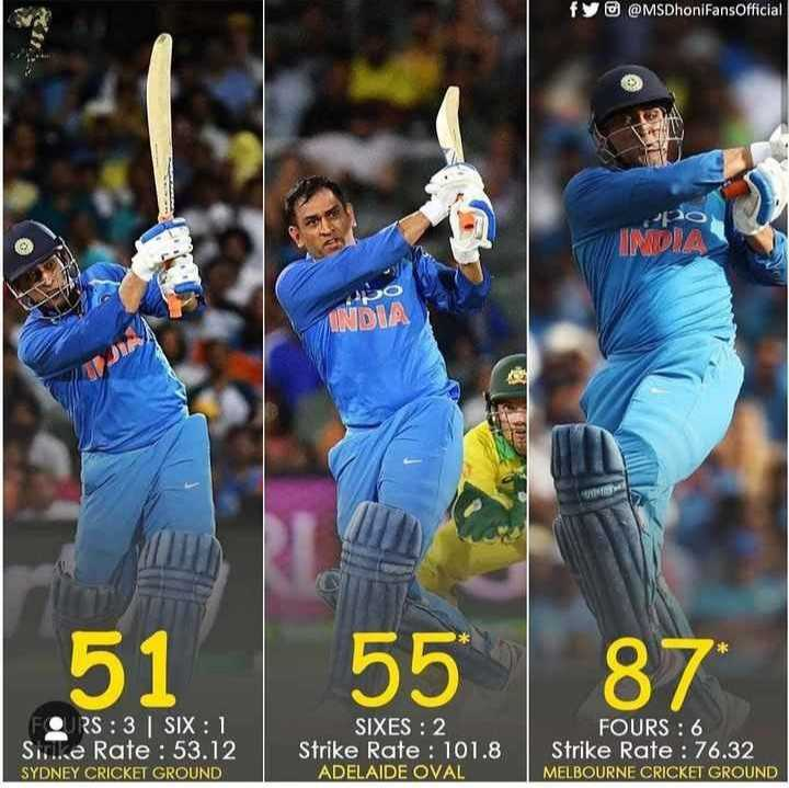 🏏AUS vs IND 3rd ODI - fy @ @ MSDhonifansOfficial INDLA 51 55 87 FORS : 3 SIX : 1 Sille Rate : 53 . 12 SYDNEY CRICKET GROUND SIXES : 2 Strike Rate : 101 . 8 ADELAIDE OVAL FOURS : 6 Strike Rate : 76 . 32 MELBOURNE CRICKET GROUND - ShareChat