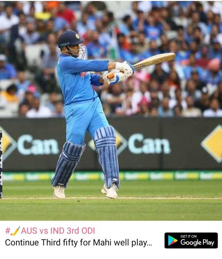 🏏AUS vs IND 3rd ODI - NIP nu Can # . AUS vs IND 3rd ODI Continue Third fifty for Mahi well play . . . GET IT ON Google Play - ShareChat