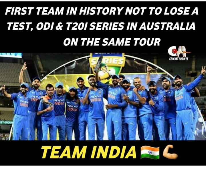 🏏AUS vs IND 3rd ODI - FIRST TEAM IN HISTORY NOT TO LOSE A TEST , ODI & T20I SERIES IN AUSTRALIA ON THE SAME TOUR CA CRICKET ADDICTS RIES Po DLA DUA TEAM INDIA - C - ShareChat
