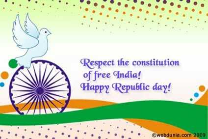 Happy republic day - Respect the constitution of free India ! Happy Republic day ! . . webdunia . com 2009 - ShareChat