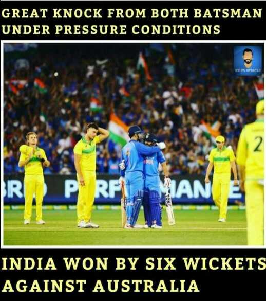 🏏 IND vs AUS 1st ODI - GREAT KNOCK FROM BOTH BATSMAN UNDER PRESSURE CONDITIONS CPL DATE AN TON INDIA WON BY SIX WICKETS AGAINST AUSTRALIA - ShareChat