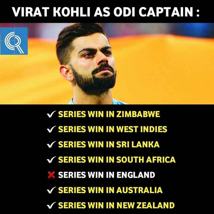 🏏Ind vs Nz 3rd ODI - VIRAT KOHLI AS ODI CAPTAIN : ✓ SERIES WIN IN ZIMBABWE ✓ SERIES WIN IN WEST INDIES ✓ SERIES WIN IN SRI LANKA ✓ SERIES WIN IN SOUTH AFRICA X SERIES WIN IN ENGLAND ✓ SERIES WIN IN AUSTRALIA ✓ SERIES WIN IN NEW ZEALAND - ShareChat