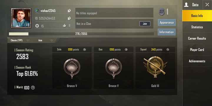 PUBG गेम - I Data % vishau12345 No titles equipped Basic Info ID : 5352434453 Not in a Clan Join Appearance Statistics Information 276 / 2055 Career Results Classic ( TPP ) v Asia v Solo 1200 points Duo 1200 points Squad 2413 points Player Card | Season Rating : 2583 Achievements | Season Rank Top 61 . 61 % Bronze V Bronze V | Merit 100 Gold III - ShareChat