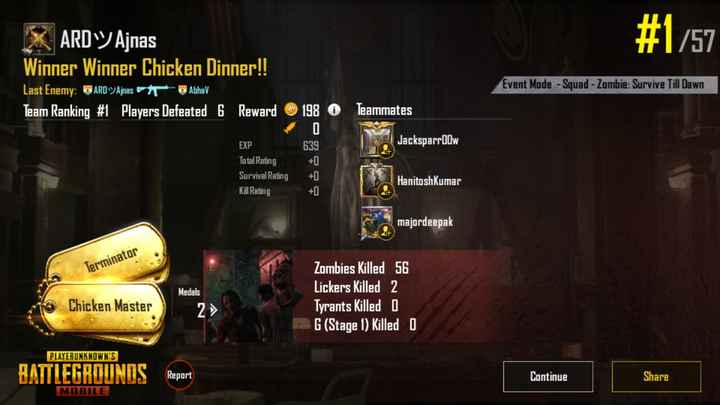 🎮 PUBG - # 1757 X ARD Ajnas Winner Winner Chicken Dinner ! ! Last Enemy : DARD Ajnas Abhav Team Ranking # 1 Players Defeated 6 Reward Event Mode - Squad - Zombie : Survive Till Dawn 198 O Teammates 0 639 Jacksparrow EXP Total Rating Survival Rating Kill Rating + 1 Hanitosh Kumar majordeepak Terminator Medals Zombies Killed 56 Lickers Killed 2 Tyrants Killed 0 G ( Stage 1 ) Killed 0 Chicken Master PLAYERUNKNOWN ' S BATTLEGROUNDS Report Continue Share MOBILE - ShareChat