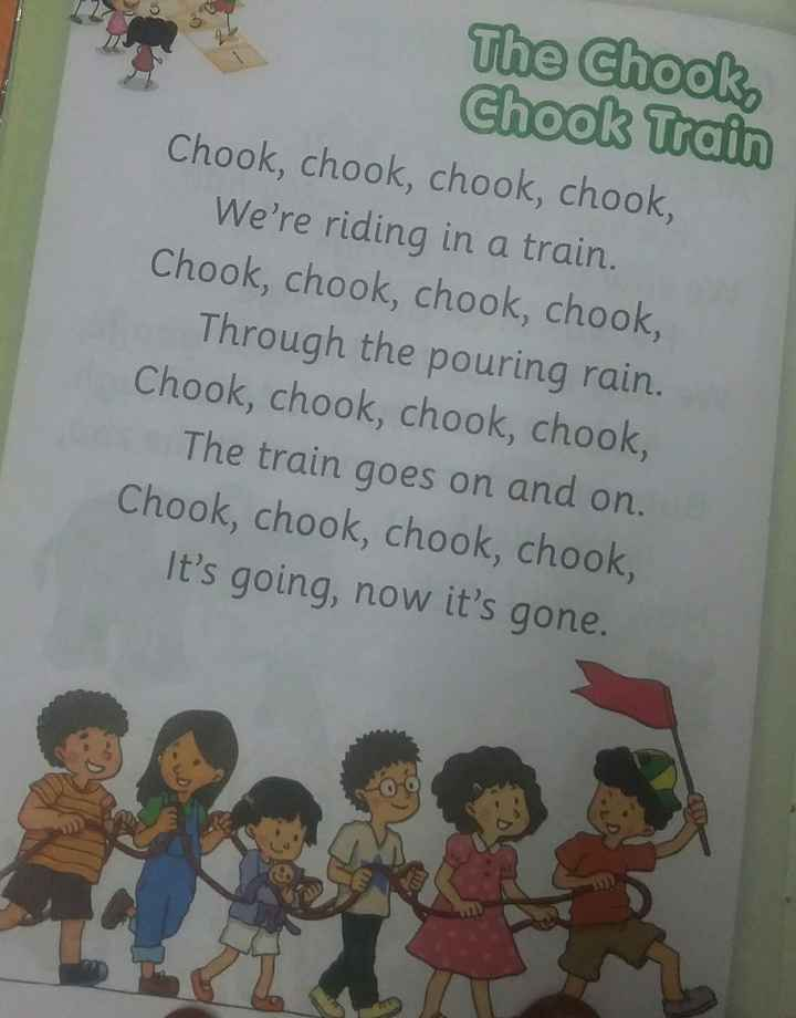 🤩Rhymes - The Chook Chook Train Chook , chook , chook , chook , We ' re riding in a train . Chook , chook , chook , chook , Through the pouring rain . Chook , chook , chook , chook , The train goes on and on . Chook , chook , chook , chook , It ' s going , now it ' s gone . - ShareChat