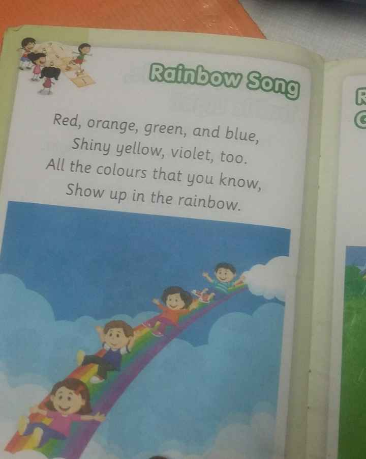 🤩Rhymes - Rainbow Song Red , orange , green , and blue , Shiny yellow , violet , too . All the colours that you know , Show up in the rainbow . - ShareChat