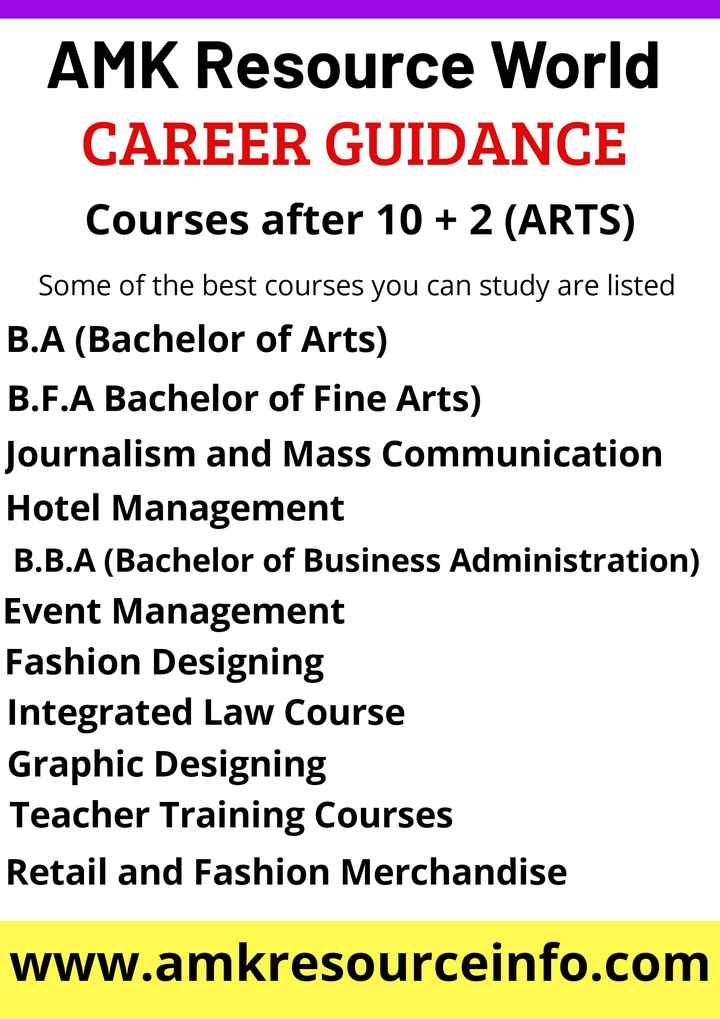 SSLC & PUC ಟಿಪ್ಸ್ - AMK Resource World CAREER GUIDANCE Courses after 10 + 2 ( ARTS ) Some of the best courses you can study are listed B . A ( Bachelor of Arts ) B . F . A Bachelor of Fine Arts ) Journalism and Mass Communication Hotel Management B . B . A ( Bachelor of Business Administration ) Event Management Fashion Designing Integrated Law Course Graphic Designing Teacher Training Courses Retail and Fashion Merchandise www . amkresourceinfo . com - ShareChat