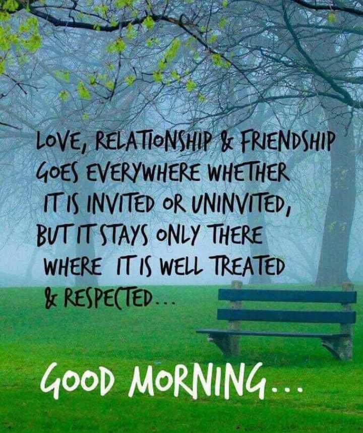 Thursday Thoughts - LOVE , RELATIONSHIP & FRIENDSHIP GOES EVERYWHERE WHETHER IT IS INVITED OR UNINVITED , BUT IT STAYS ONLY THERE WHERE IT IS WELL TREATED & RESPECTED . . . GOOD MORNING . . . - ShareChat