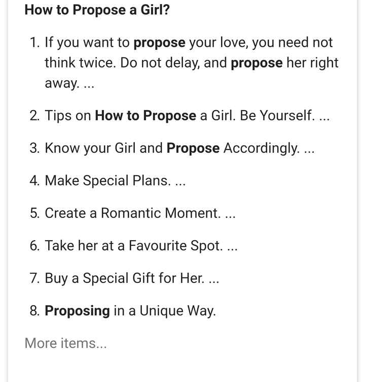 lovepreet - How to Propose a Girl ? 1 . If you want to propose your love , you need not think twice . Do not delay , and propose her right away . . . . 2 . Tips on How to Propose a Girl . Be Yourself . . . . 3 . Know your Girl and Propose Accordingly . . . . 4 . Make Special Plans . . . . 5 . Create a Romantic Moment . . . . 6 . Take her at a Favourite Spot . . . . 7 . Buy a Special Gift for Her . . . . 8 . Proposing in a Unique Way . More items . . . - ShareChat