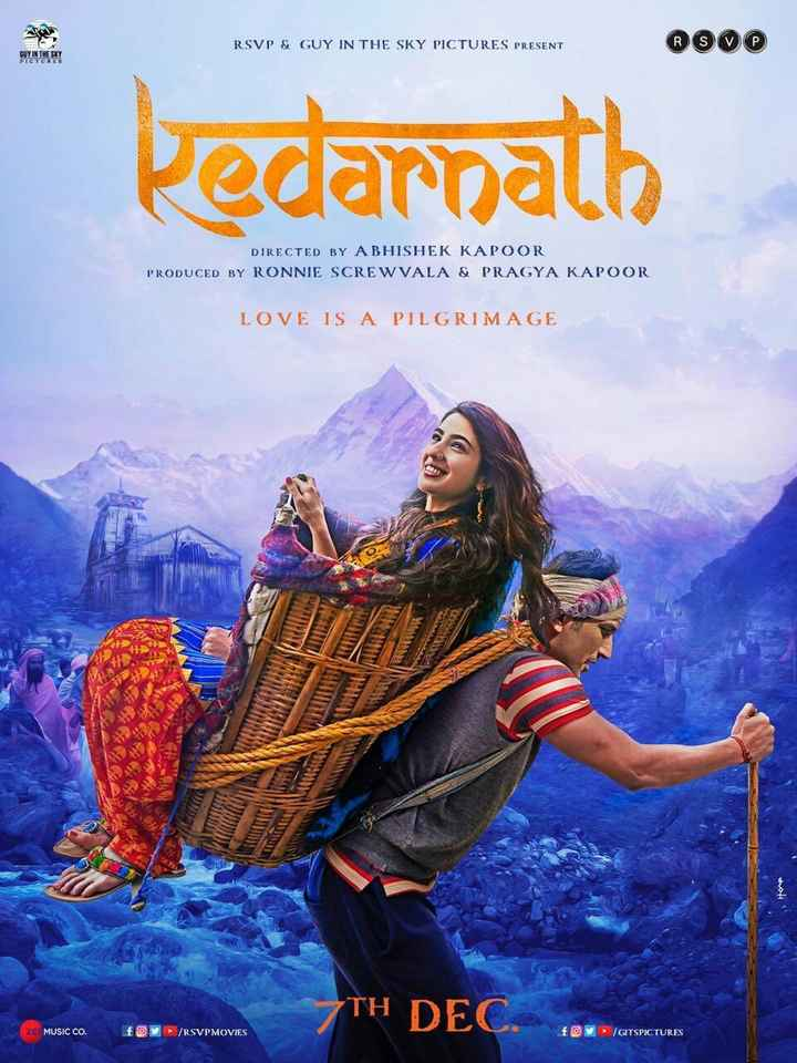 30 अक्टूबर की न्यूज़ - RSVP & GUY IN THE SKY PICTURES PRESENT 600 SUY IN THE SKY Kedarnath DIRECTED BY ABHISHEK KAPOOR PRODUCED BY RONNIE SCREWVALA & PRAGYA KAPOOR LOVE IS A PILGRIMAGE TH DEC . ZE MUSIC CO . foy ► / RSVPMOVIES ► / GITSPICTURES - ShareChat