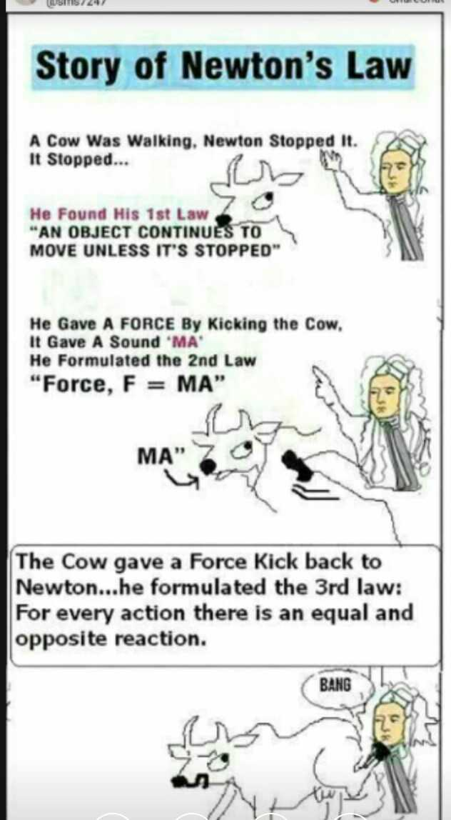 వింతలు -విశేషాలు 👁 😯 - Story of Newton ' s Law A Cow Was Walking . Newton Stopped it . It Stopped . . . He Found His 1st Law AN OBJECT CONTINUES TO MOVE UNLESS IT ' S STOPPED He Gave A FORCE By Kicking the Cow . It Gave A Sound MA He Formulated the 2nd Law Force , F = MA ho The Cow gave a Force Kick back to Newton . . . he formulated the 3rd law : For every action there is an equal and opposite reaction . BANG - ShareChat