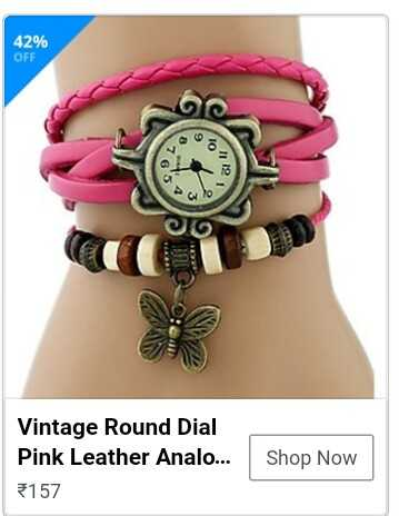 end gall baat - 42 % OFF Vintage Round Dial Pink Leather Analo.... Shop Now き 157 - ShareChat