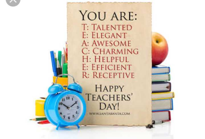 happy teacher day - YOU ARE : T : TALENTED E : ELEGANT A : AWESOME C : CHARMING H : HELPFUL E : EFFICIENT R : RECEPTIVE HAPPY TEACHERS DAY ! WWW . SANTABANTA . COM - ShareChat
