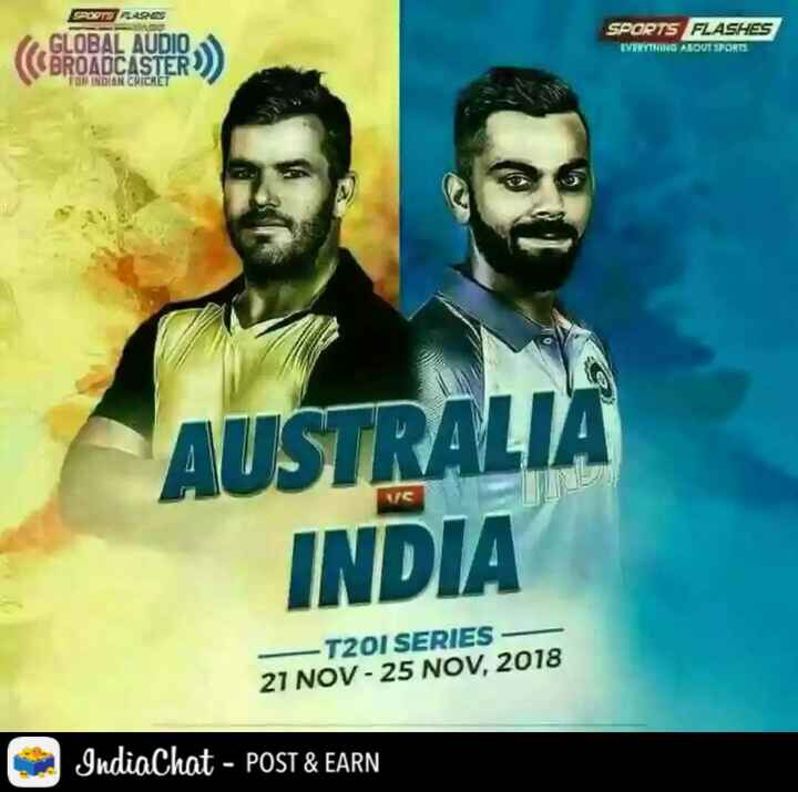 🏏Aus vs Ind 1st T20 - soord Reset GLOBAL AUDIO ( BROADCASTER ) SPORTS FLASHES EVERYTHING ABOUT SPORTS DAN CRICHET AUSTRALIA INDIA - T20I SERIES - 21 NOV - 25 NOV , 2018 IndiaChat - POST & EARN - ShareChat