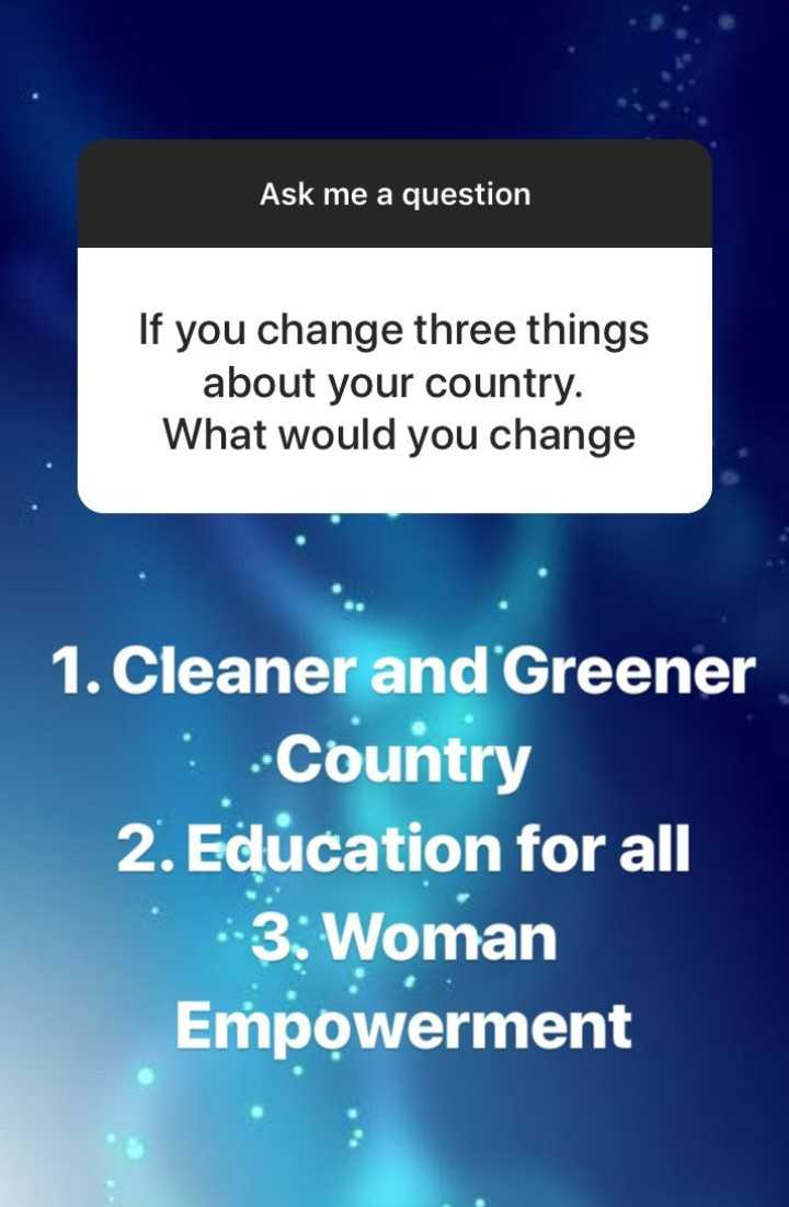 मेरे बारे में - Ask me a question If you change three things about your country . What would you change 1 . Cleaner and Greener - Country 2 . Education for all 3 : Woman Empowerment - ShareChat