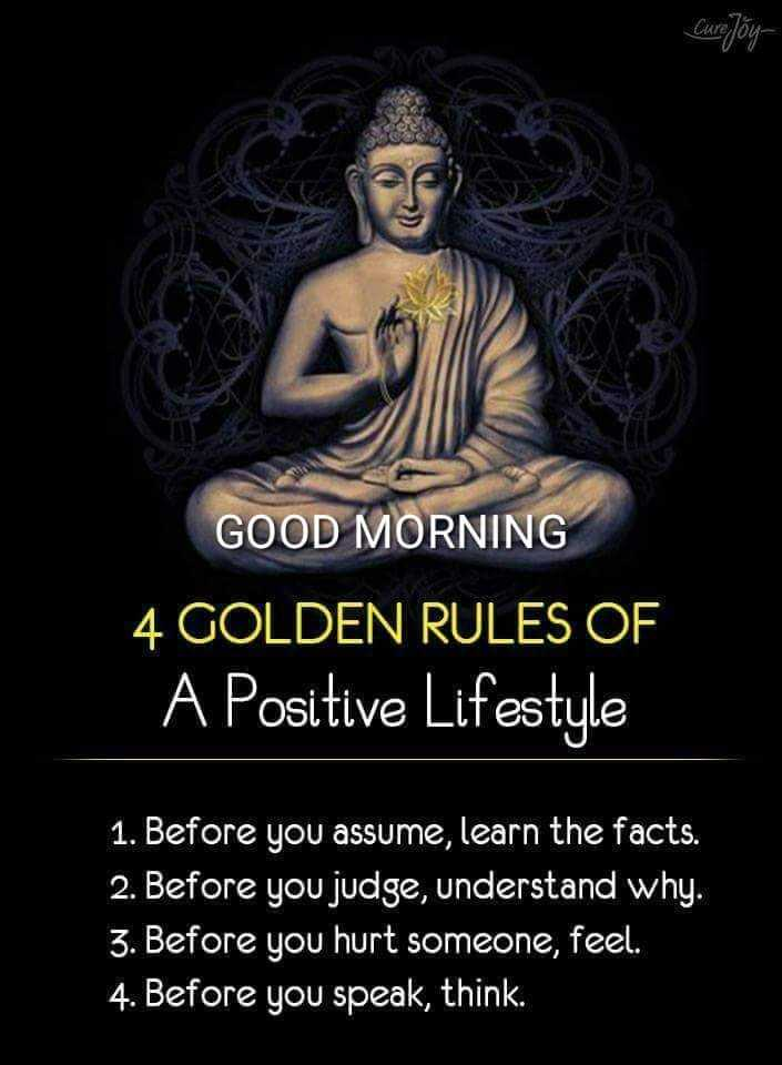 साहस💟का - Cure Joy GOOD MORNING 4 GOLDEN RULES OF A Positive Lifestyle 1 . Before you assume , learn the facts . 2 . Before you judge , understand why . 3 . Before you hurt someone , feel . 4 . Before you speak , think . - ShareChat