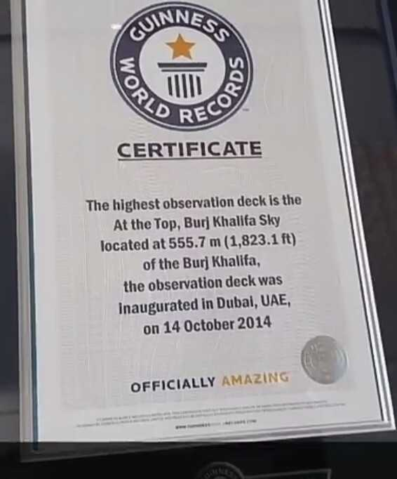 3 अक्टूबर की न्यूज़ - RE CERTIFICATE The highest observation deck is the At the Top , Burj Khalifa Sky located at 555 . 7 m ( 1 , 823 . 1 ft ) of the Burj Khalifa , the observation deck was inaugurated in Dubai , UAE , on 14 October 2014 OFFICIALLY AMAZING - ShareChat