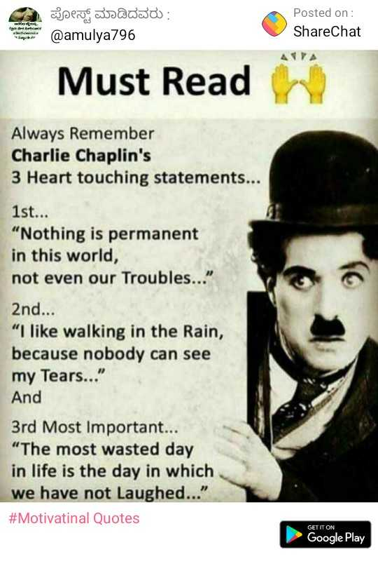 charlie chaplin - ಈ ಪೋಸ್ಟ್ ಮಾಡಿದವರು : @ amulya796 Posted on : ShareChat Must Read Always Remember Charlie Chaplin ' s 3 Heart touching statements . . . 1st . . . Nothing is permanent in this world , not even our Troubles . . . 2nd . . . I like walking in the Rain , because nobody can see my Tears . . . And 3rd Most Important . . . The most wasted day in life is the day in which we have not Laughed . . . # Motivatinal Quotes GET IT ON Google Play - ShareChat