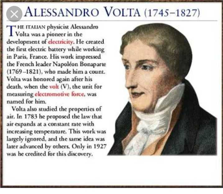 भारतीय वैज्ञानिक - X ALESSANDRO VOLTA ( 1745 - 1827 ) THE ITALIAN physicist Alessandro Volta was a pioneer in the development of electricity . He created the first electric battery while working in Paris , France . His work impressed the French leader Napoléon Bonaparte ( 1769 - 1821 ) , who made him a count . Volta was honored again after his death , when the vol ( V ) , the unit for measuring electromotive force , was named for him . Volta also studied the properties of air . In 1783 he proposed the law that air expands at a constant rate with increasing temperature . This work was largely ignored , and the same idea was later advanced by others . Only in 1927 was he credited for this discovery . - ShareChat