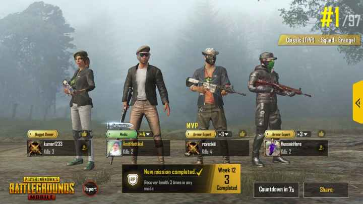 World Freedom Day - # 1797 Classic ( TPP ) - Squad - Erangel Terminator MVP Armor Expert get Dinner Medic x4 * 3 Amit Hattikal kumar1233 Kills 3 rcvenkii Kills 4 Armor Expert 3 HussainHere Kills 2 Kills 2 New mission completed . Week 12 PLAYERUNKNOWN ' S 3 BATTLEGROUNDS Recover health 3 times in any mode Report Report Completed Countdown in 7 Share MOBILE - ShareChat