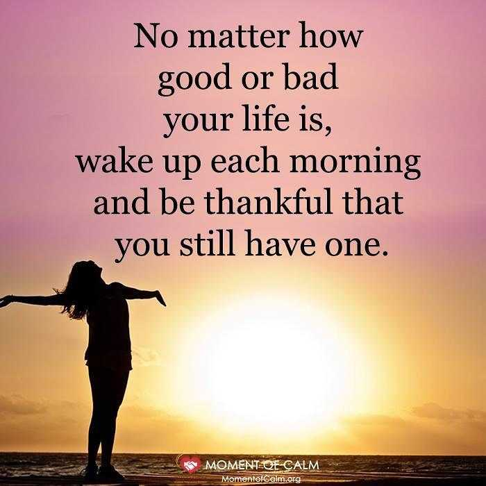 👌सुविचार - No matter how good or bad your life is , wake up each morning and be thankful that you still have one . MOMENT QE CALM MomentofCalm . org - ShareChat