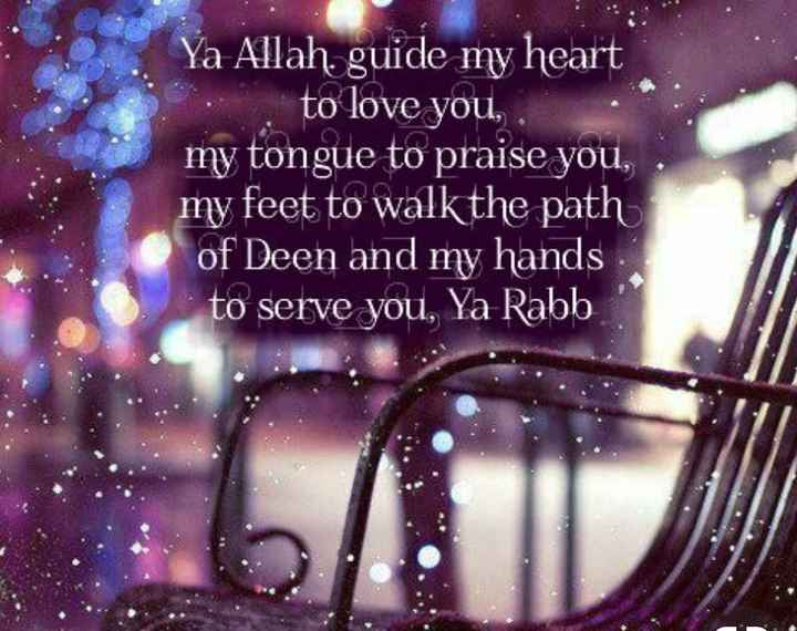 Islam - Ya Allah . guide my heart to love you , my tongue to praise you , my feet to walk the path of Deen and my hands to serve you , Ya Rabb - ShareChat