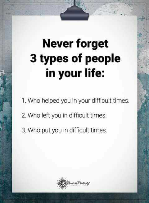 ಭಾವನಾ ಲೋಕ - Never forget 3 types of people in your life : 1 . Who helped you in your difficult times . 2 . Who left you in difficult times . 3 . Who put you in difficult times . W - ShareChat