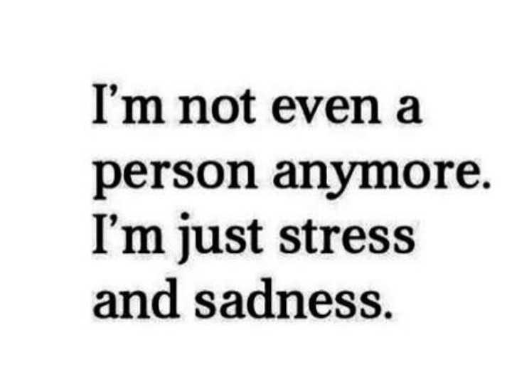 💔sad  feeling💔 - I ' m not even a person anymore . I ' m just stress and sadness . - ShareChat