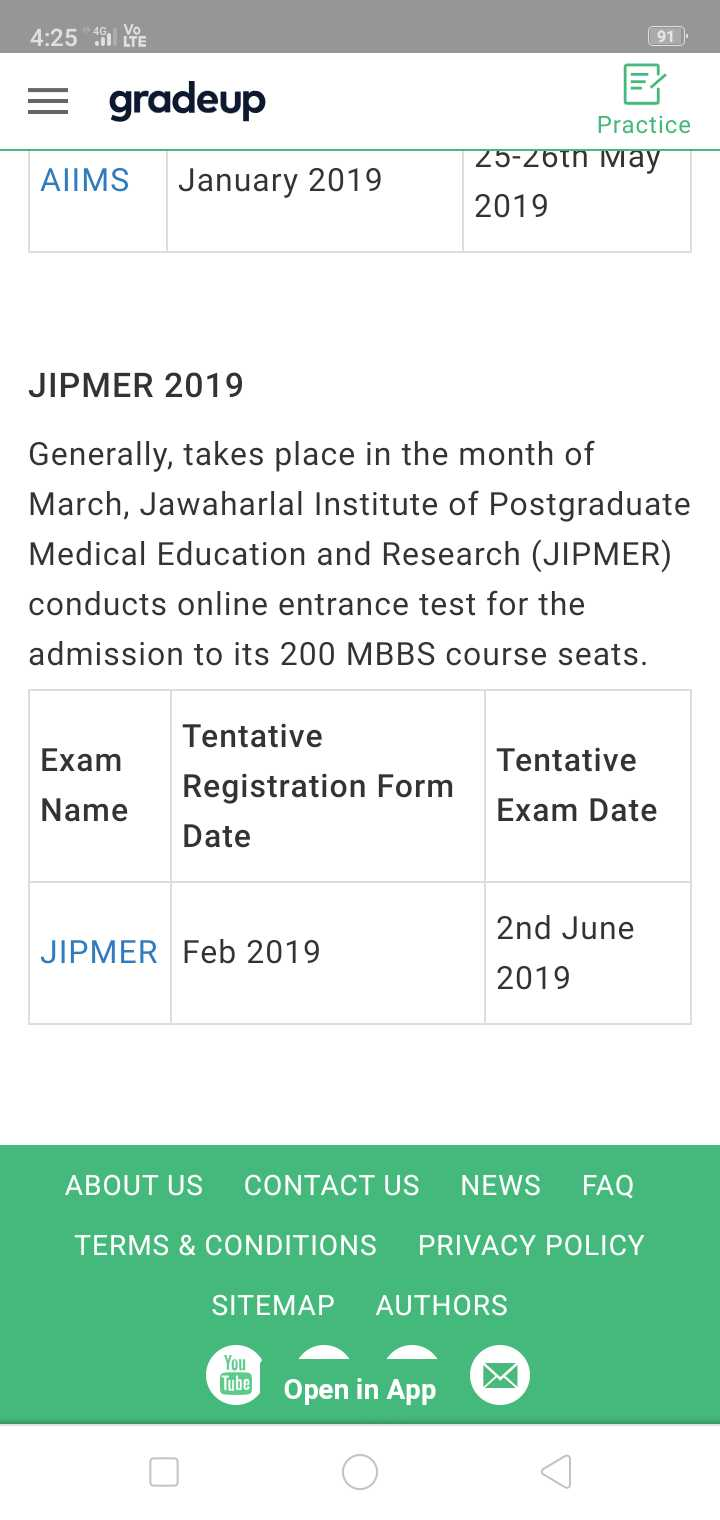 विज्ञापन - 4 : 25 YE 91 = gradeup AIMS January 2019 Practice 25 - 26th May 2019 JIPMER 2019 Generally , takes place in the month of March , Jawaharlal Institute of Postgraduate Medical Education and Research ( JIPMER ) conducts online entrance test for the admission to its 200 MBBS course seats . Exam Name Tentative Registration Form Date Tentative Exam Date JIPMER Feb 2019 2nd June 2019 ABOUT US CONTACT US NEWS FAQ TERMS & CONDITIONS PRIVACY POLICY SITEMAP AUTHORS Open in App - ShareChat