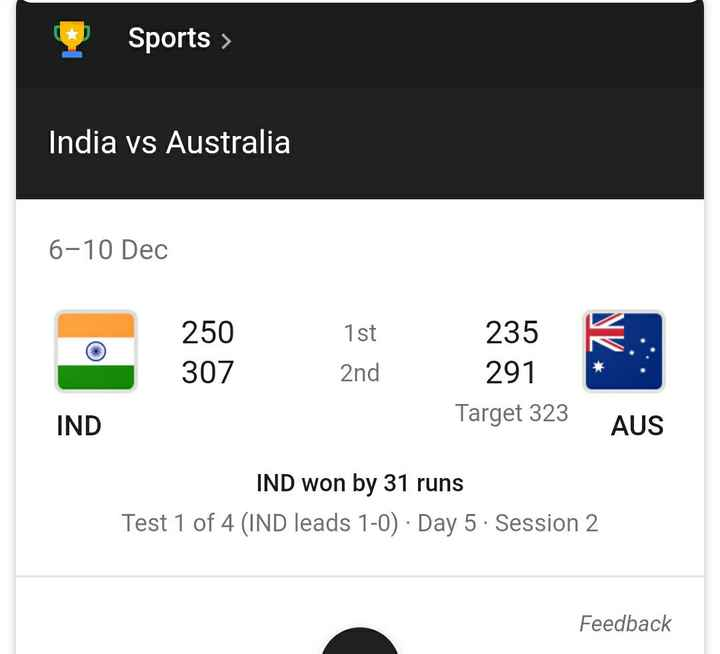 AUSvIND - Sports > India vs Australia 6 - 10 Dec 250 307 1st 235 291 K . : 2nd Target 323 IND AUS IND won by 31 runs Test 1 of 4 ( IND leads 1 - 0 ) · Day 5 . Session 2 Feedback - ShareChat